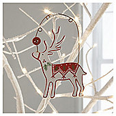 Gisela Graham Scandi Wood Reindeer White Hanging Decoration