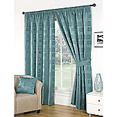 Milano Teal Lined Pencil Pleat Curtains & Tiebacks - 66x90