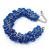 Royal Blue Glass Bead Bracelet (Silver Tone Metal) - 16cm Length (Plus 4cm Extender)