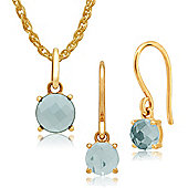 Amour Damier 9ct Yellow Gold Aquamarine Drop Earrings & 45cm Necklace Set by Gemondo