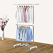 Homcom Stainless Steel Adjustable Clothes Hanger Double Rack Hanging Rails w/ Wheels