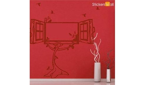 Window Photo Frame Wall Sticker, Burgundy
