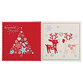 Tesco Mini Icon Tree & Reindeer Christmas Cards, 12 Pack