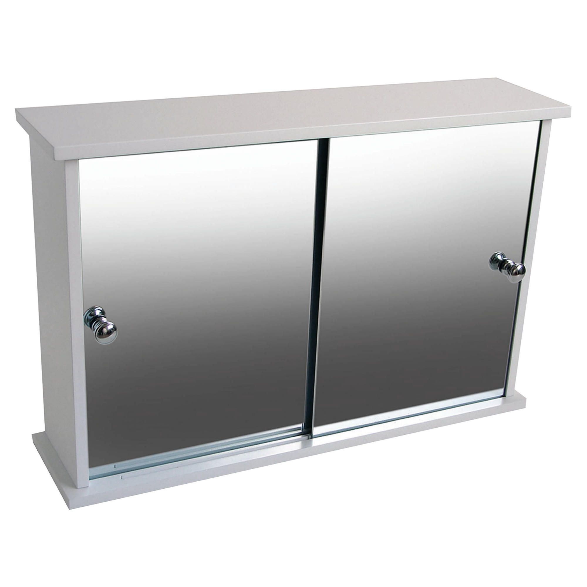 Double Sliding Mirror Door White Cabinet