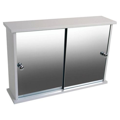 Buy bathroom cabinet with double sliding mirror doors for Bathroom cabinets tesco