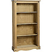 Corona Medium Bookcase/Storage/CD/DVD - Solid Pine - Distressed Waxed Finish