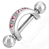 1.2mm Stainless Steel Nipple Ring / Shield With CZ Stones