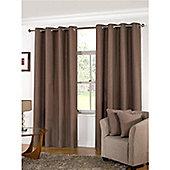 KLiving Manhattan Plain Panama Unlined Eyelet Curtain 90 x 54 Mocha