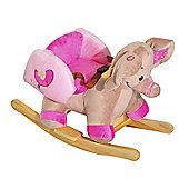 Homcom Kids Rocking Animal Infant Rocker Plush Seat w/ Safety Belt (Pink Elephant)