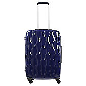 Tesco 4-Wheel Gloss Suitcase, Navy Blue Medium