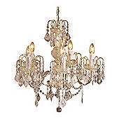 Loxton Lighting 5 Light Chandelier in Clear Acrylic Gold