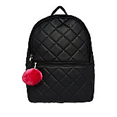 F&F Quilted Rucksack with Pom Pom Charm One Size Black