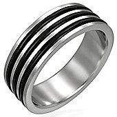 Urban Male Stainless Steel & Triple Black Resin 8mm Men's Ring