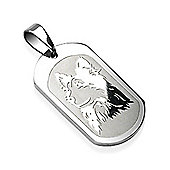 Urban Male Wolf Dog Tag Pendant For Men In Stainless Steel