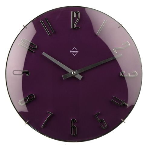 buy premier housewares wall clock purple from our clocks. Black Bedroom Furniture Sets. Home Design Ideas