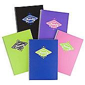 Handy A4 Wiro notebook asst Bright 5pk 160pg