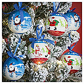 Santa and Snowman Christmas Baubles, 14 pack
