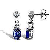 9ct White Gold Diamond and Sapphire Earrings
