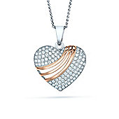 The REAL Effect Rhodium & Rose Sterling Silver Cubic Zirconia Heart swoosh Pendant Pendant
