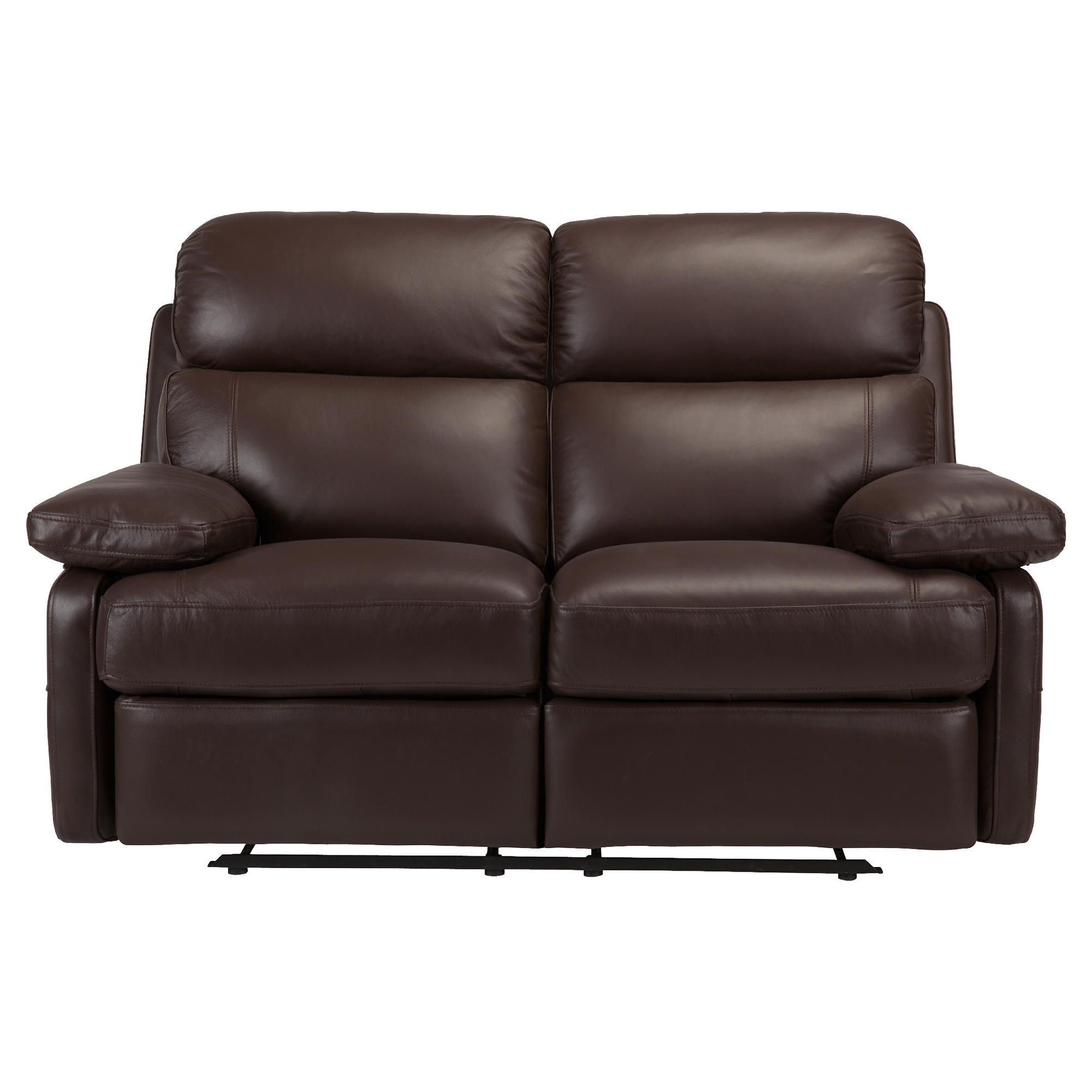 Cordova Leather Small Recliner Sofa Chocolate at Tesco Direct