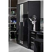 Welcome Furniture Knightsbridge Tall Wardrobe with Mirror - Black - Cream