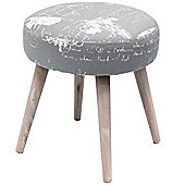 Retro Fabric Dressing Stool with Wood Legs - Grey / Cream