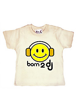Dirty Fingers Born 2 DJ Baby T-shirt - Cream