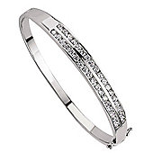 Rhodium Coated Sterling Silver Tennis Bangle