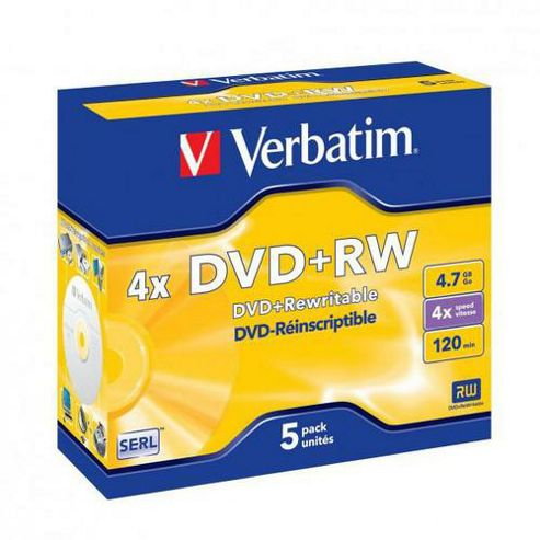 Verbatim 4.7 GB 4x DataLife Plus DVD+RW Jewel Case 5 Pack