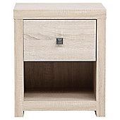 Torino 1 Drawer Bedside Table, Oak Effect