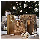 Gold Christmas Gift Bags, 3 pack
