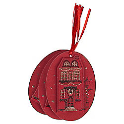 Red Village Scene Christmas Gift Tags, 3 pack