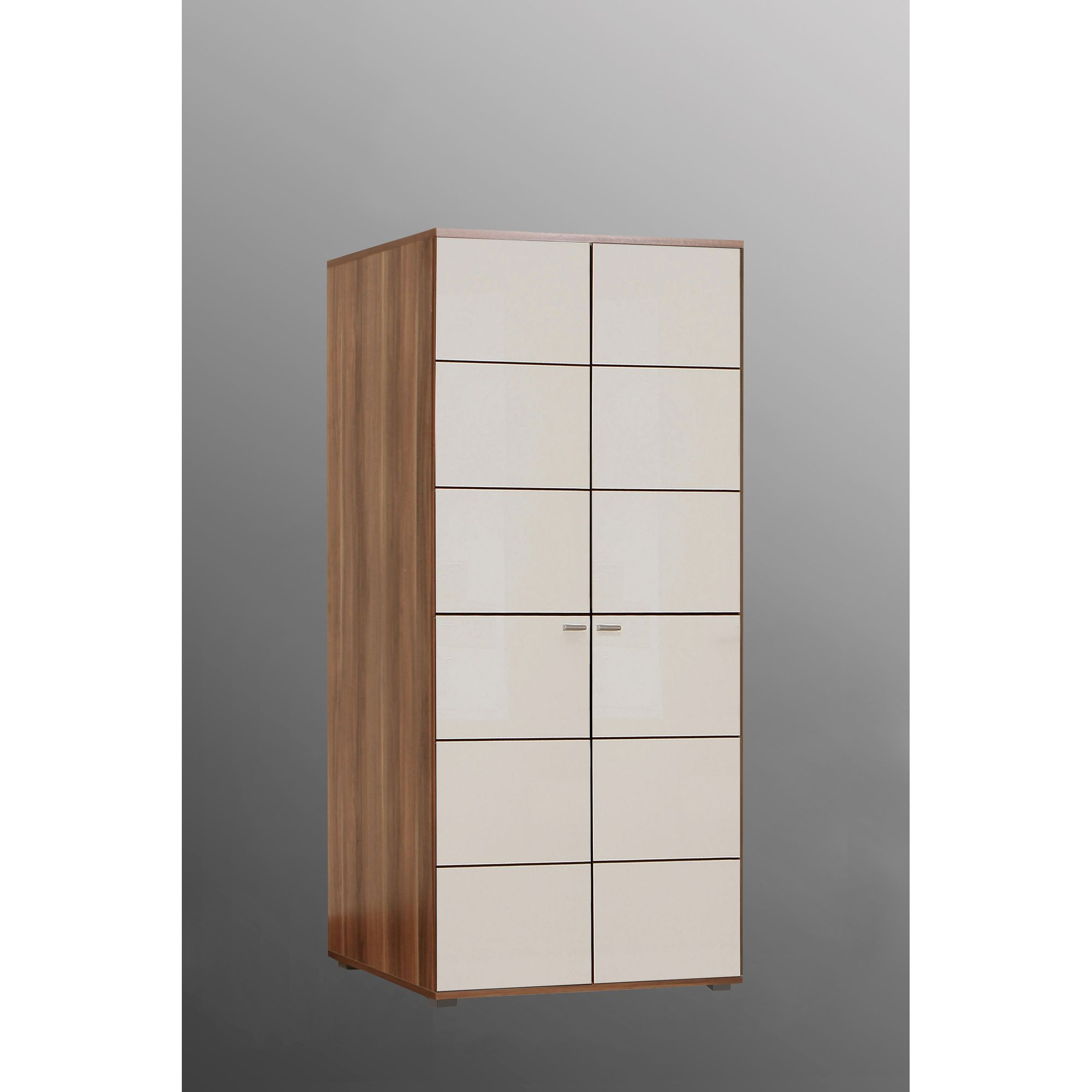 Ideal Furniture Anemone Two Door Wardrobe - Walnut White Gloss at Tesco Direct