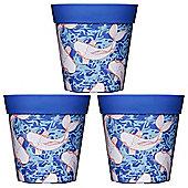 3 x 22cm Blue Ink Fish Plastic Garden Planter 5L Flowerpot by Hum