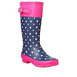 F&F Polka Dot Wellies 12 Child Navy/Pink