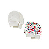 Mothercare Baby Girls Scratch Mitts - 2 Pack Size Up to 3 mnths - 14.5lbs