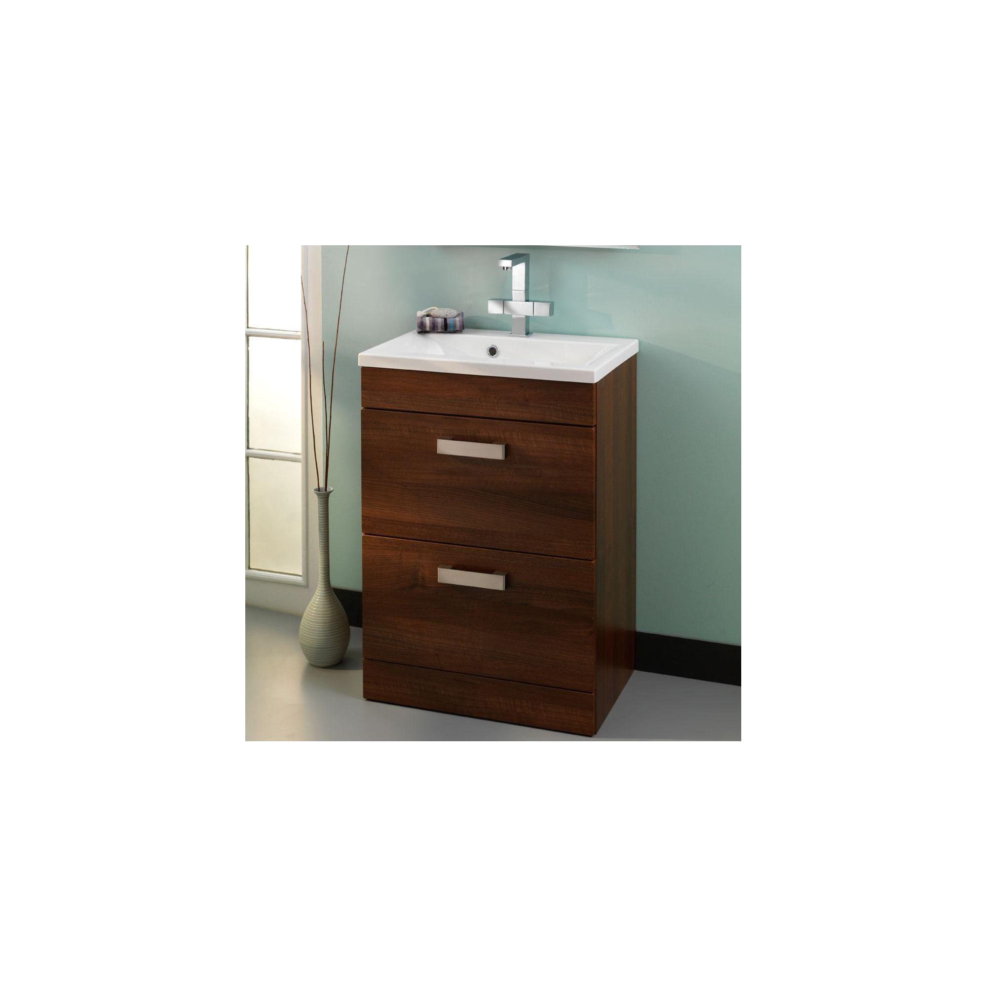 Duchy Tredrea Walnut Floor Standing 2 Drawer Vanity Unit and Basin - 580mm Wide x 393mm Deep