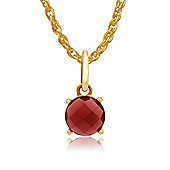 Gemondo Amour Damier 9ct Yellow Gold 1.60ct Claw Set Garnet Pendant on 45cm Chain