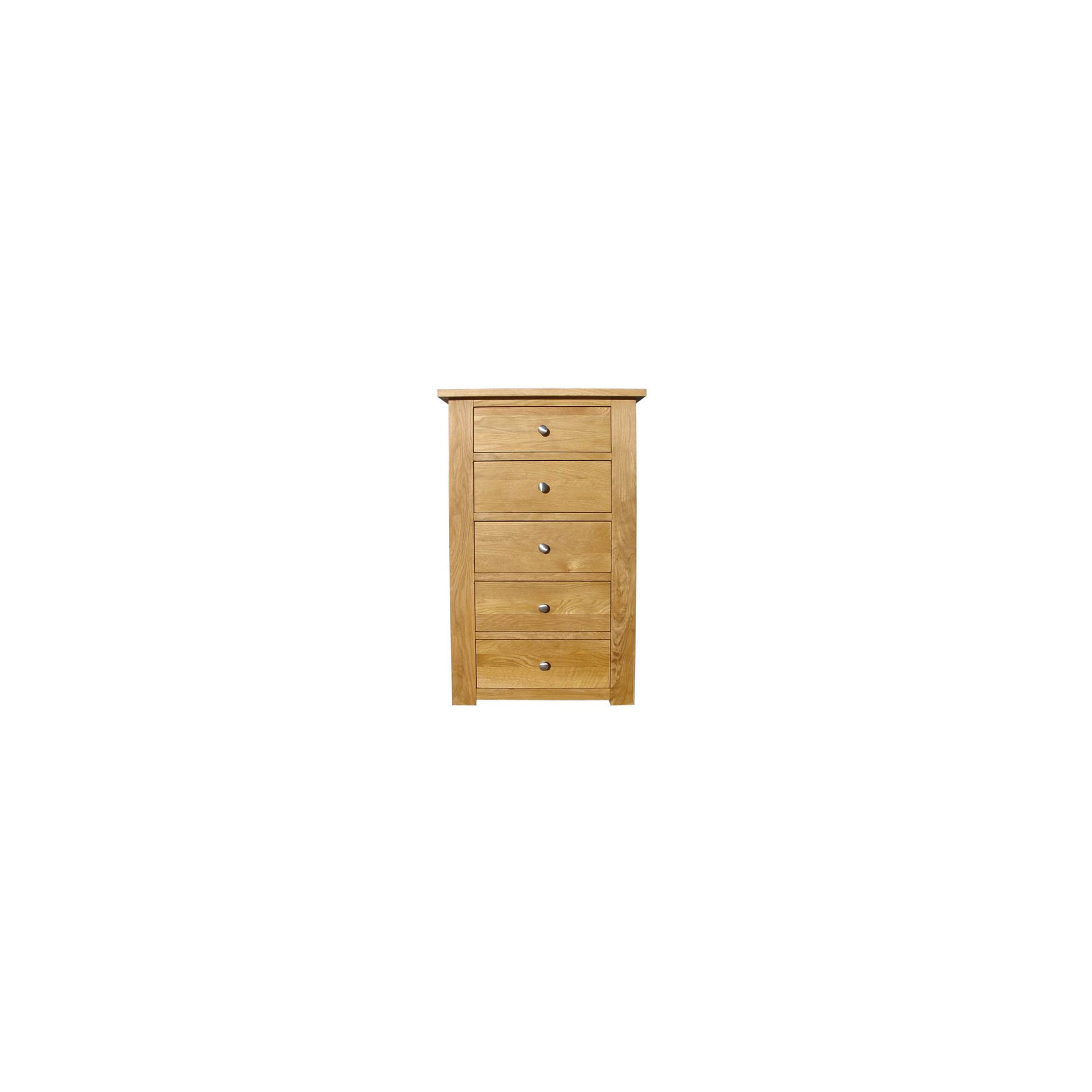 Home Zone Furniture Lincoln Oak 2009 Five Drawers Wellington Chest at Tesco Direct