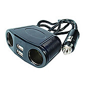 2-Way 12V Multi-Socket with 2-USB 2.1A