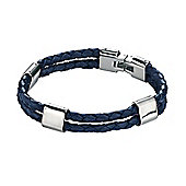 Mens Fred Bennett Blue Braided Leather Double Strand Bracelet