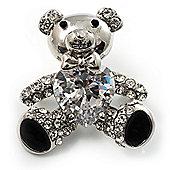 Cute CZ Teddy Bear Brooch (Silver Tone)