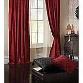 Catherine Lansfield Home Plain Faux Silk Curtains 66x54 (168x137cm) - RUBY - Tie backs included