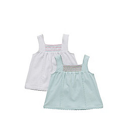 F&F 2 Pack of Smock Detail Vests 06 - 09 months Mint/White