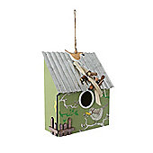 Hanging Green Wooden Bird Houe with Corrugated Metal Roof & Bird Detail
