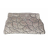 Parlane Stylish Grey Evening Bag With Silver Detail