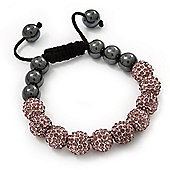 Pink Swarovski Crystal Balls & Smooth Round Hematite Beads Shamballa Bracelet - 10mm - Adjustable