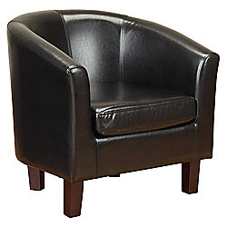 PU Leather Tub Chair in Black