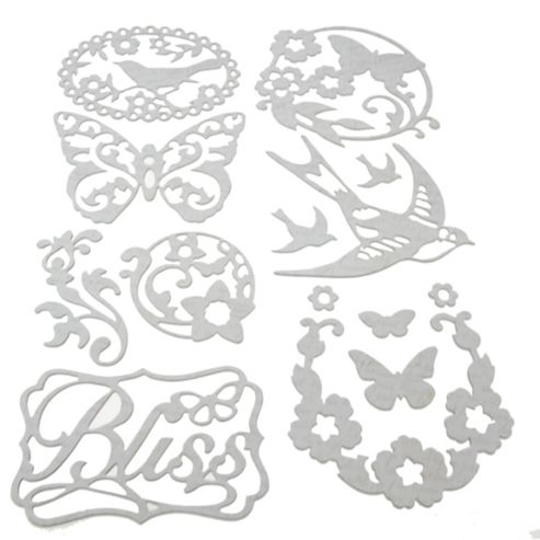 Flora & Fauna Adhesive Chipboard Silhouettes