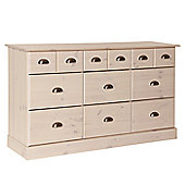 Altruna Terra 3 Over 6 Drawer Chest - White Wash Pine